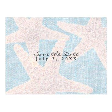Beach Themed White Starfish & Blue Burlap Beach Save the Date Postcard