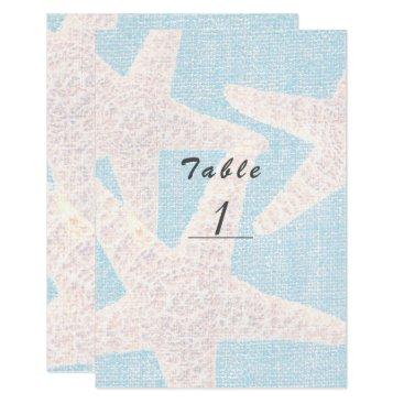 Beach Themed White Starfish & Blue Burlap Beach Table Number Card