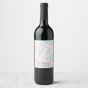 Beach Themed White Starfish & Blue Burlap Beach Wine Labels