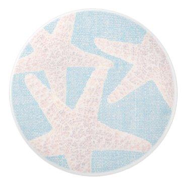 Beach Themed White Starfish & Blue Burlap Elegant Beach Ceramic Knob