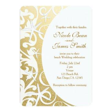 Beach Themed White Starfish Gold Beach Wedding Invitations