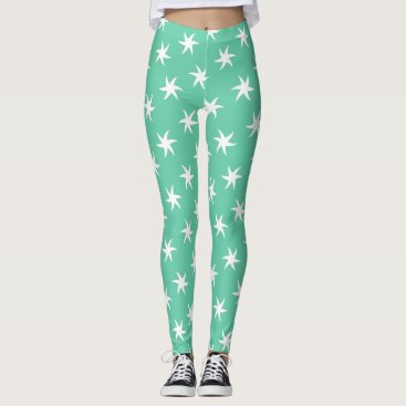 Beach Themed White Starfish on Sea Foam Green Leggings