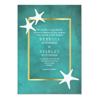 White starfish on teal stained paper beach wedding