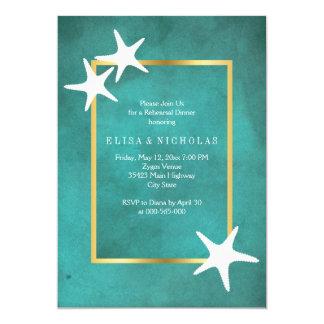 White starfish on teal wedding rehearsal dinner card