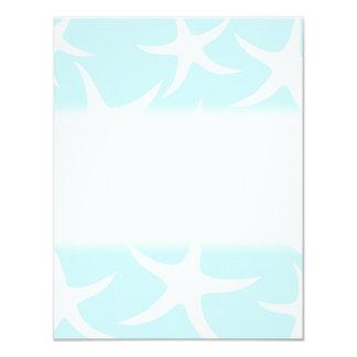 White Starfish Pattern on Light Blue. 4.25x5.5 Paper Invitation Card