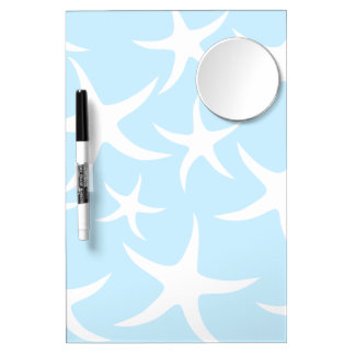 White Starfish Pattern on Light Blue. Dry Erase Board With Mirror