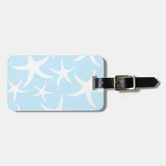 White Starfish Pattern on Light Blue. Luggage Tag