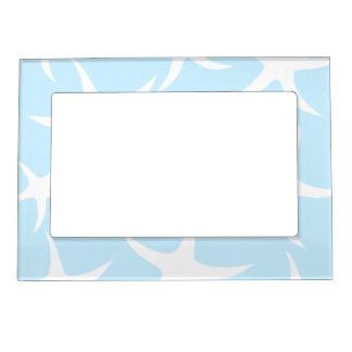 White Starfish Pattern on Light Blue. Magnetic Picture Frame