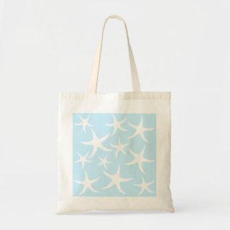 White Starfish Pattern on Light Blue. Tote Bag