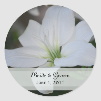 White Stargazer Lily Wedding Stickers