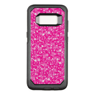 White Stars And Hot Pink Glitter OtterBox Commuter Samsung Galaxy S8 Case