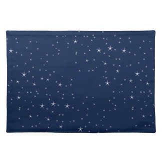 White Stars Navy Blue Background Pattern Cloth Placemat