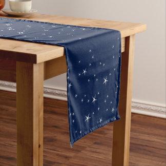 White Stars Navy Blue Background Pattern Long Table Runner