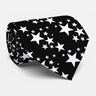 White Stars on Black Tie