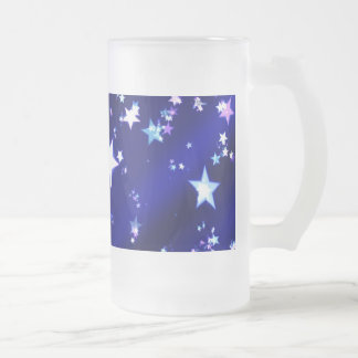 White Stars on Blue Patterned Background Frosted Glass Beer Mug
