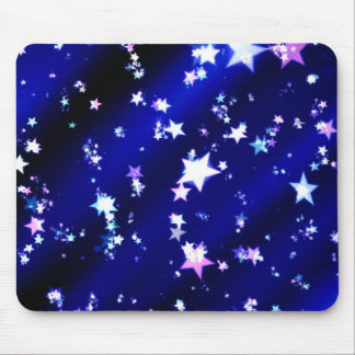 White Stars on Blue Patterned Background Mouse Pads
