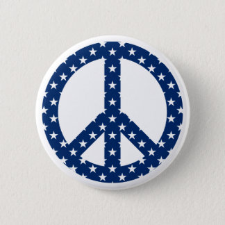 White Stars on Blue Peace Symbol Pinback Button