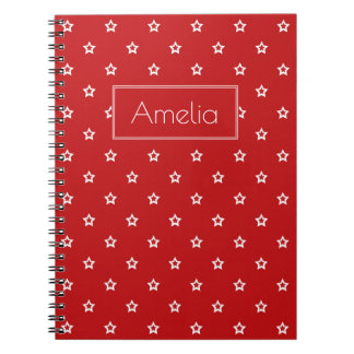 White Stars on Bright Red Notebook