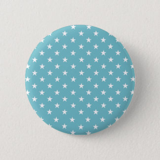 White Stars On Calmest Curacao Blue. Fashionable Button