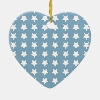 White Stars On Grey Blue Ceramic Ornament