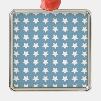 White Stars On Grey Blue Metal Ornament
