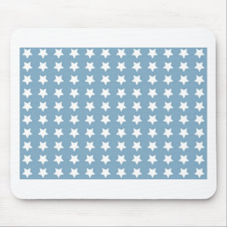 White Stars On Grey Blue Mouse Mats