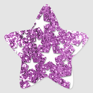 White Stars on Pink Glitter look Star Sticker