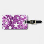 White Stars on Pink Glitter look Travel Bag Tag