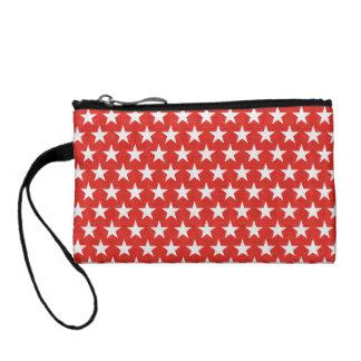 White stars on red background change purse