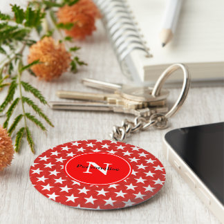 White stars on red background keychain