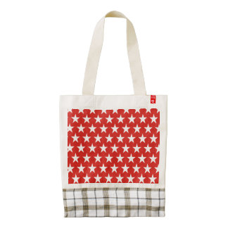 White stars on red background zazzle HEART tote bag
