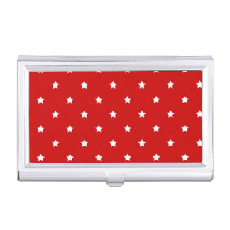 White Stars on Red Business Card Case