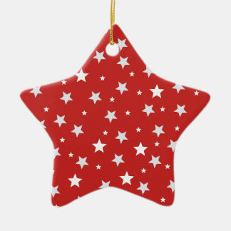 White Stars on Red Christmas Holidays Ceramic Ornament