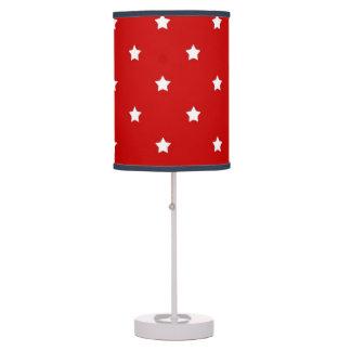 White Stars on Red Desk Lamp