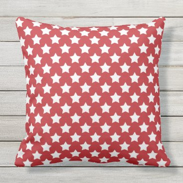 USA Themed White Stars on Red Patriotic USA Outdoor Pillow