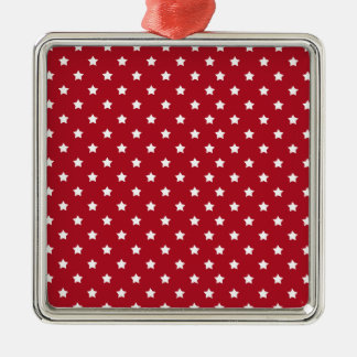 White Stars on Red Pattern Metal Ornament