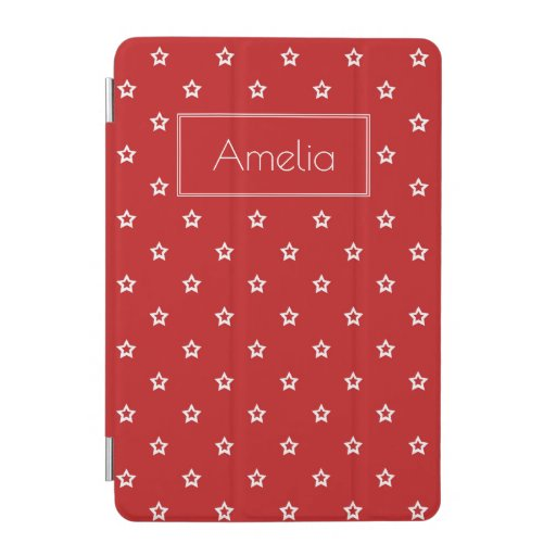 White Stars Pattern on Bright Red Personalised iPa iPad Mini Cover