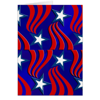 White Stars, Red Stripes and Blue Background Card