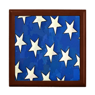 White Stars With Blue Background Gift Box