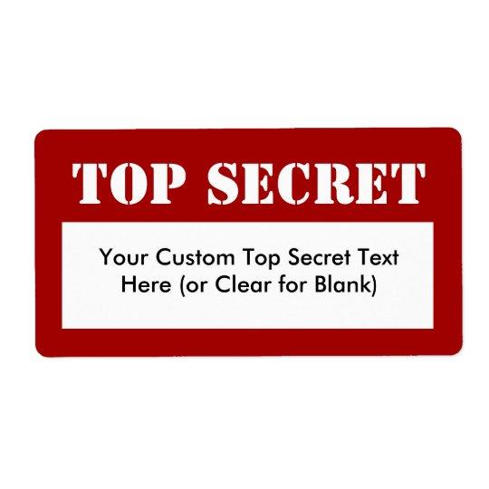 White Stencil Top Secret Fill-In Labels