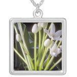 white Stephanotis floribunda flowers Square Pendant Necklace