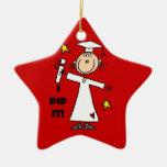 White Stick Figure Girl Graduate on Red Ceramic Ornament