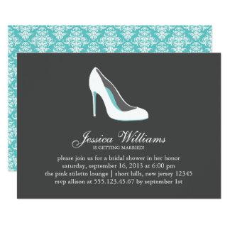 White Stiletto Heel Bridal Shower Card