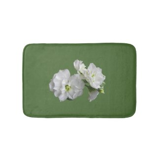 White Stock Flower Floral Bath Mats