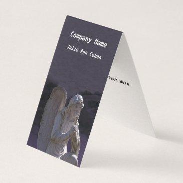 Professional Business White Stone Christian Praying Angel Statue Purple Business Card