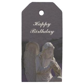White Stone Praying Birthday Angel on Purple Sky Wooden Gift Tags