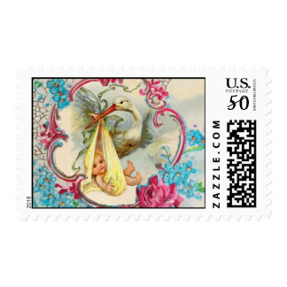 WHITE STORK BABY SHOWER, PINK ROSES,BLUE FLOWERS POSTAGE