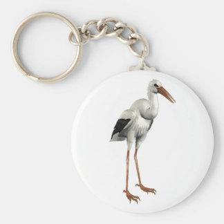 White Stork Basic Round Button Keychain