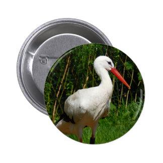 White Stork Bird Button