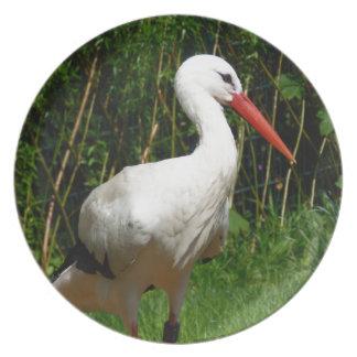 White Stork Bird Dinner Plate